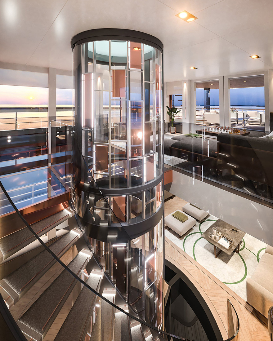 Vripack Design - Yacht Concepts - Maharani - Impressive Glass Stair Case - Interior Design - Luxury materials - Super Yacht